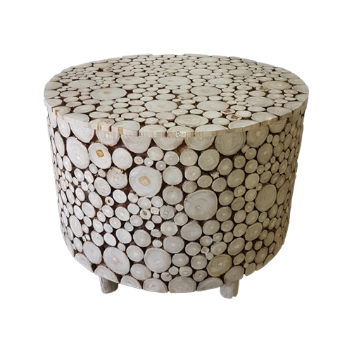 SIDE TABLE WOODEN COINS