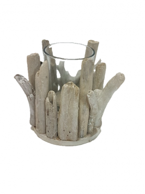 CANDLE HOLDER DRIFTWOOD N GLASS