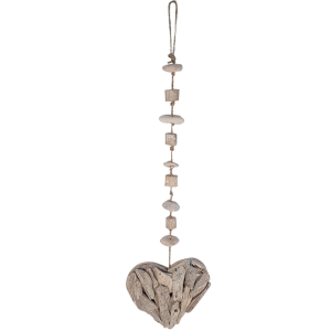 HEART DRIFTWOOD PEBBLE HANGER L