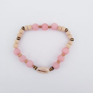 BRACELET COWRIE PINK BEADS