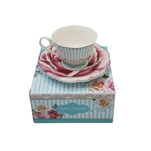 CUP N SAUCER GIFT BOX JENNA CLIFFORD WAVY ROSE